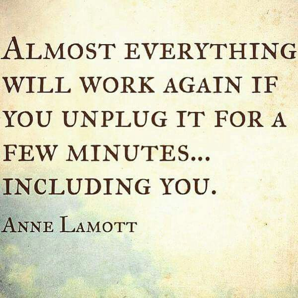 Almost everything will work again if you unplug it for a few minutes... including you. Anne Lamott