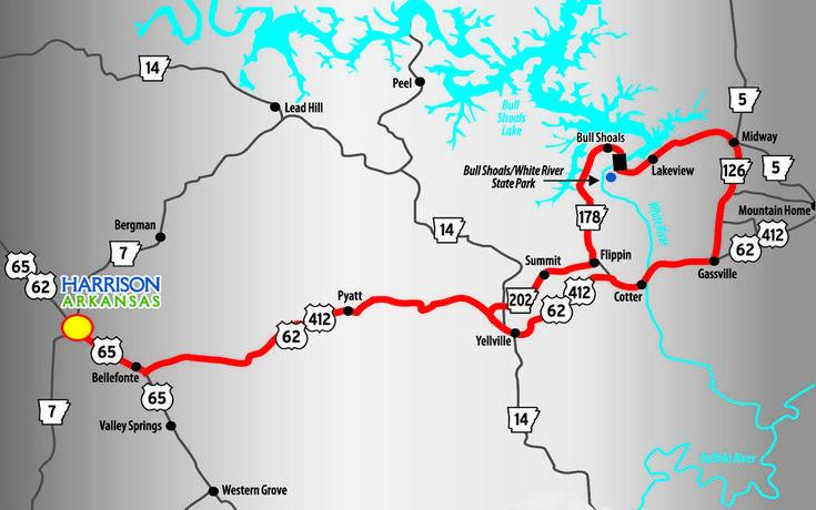 Bull shoals dam route shoal lake route shoals