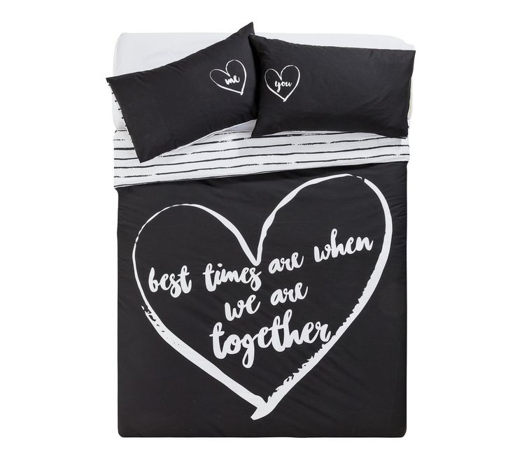 Buy HOME Love Therapy Black Bedding Set - Double at Argos.co.uk - Your Online Shop for Duvet cover sets, Bedding, Home and garden.