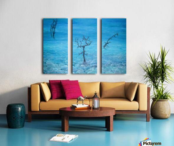 Winter, seascape, trees, scene, blue, fine art, oil painting, decor items, triptych, 3 split, canvas,  stretched, canvas, multi panel, prints, for sale