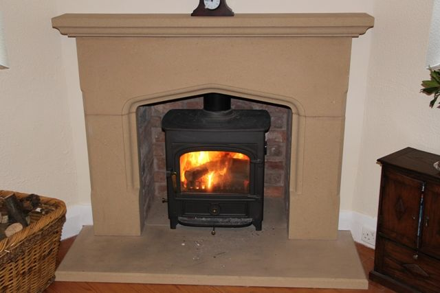Sandstone Arch Fireplace With Clearview Log Burner Natural Stone