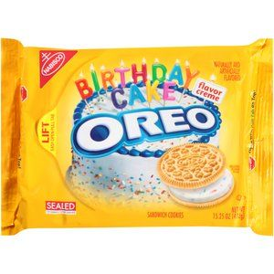 Nabisco Oreo Golden Birthday Cake Flavor Creme Sandwich Cookies, 15.25 oz