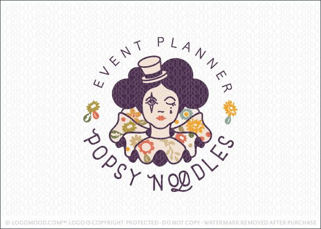 Logo for sale by Melanie D: Vintage style female circus show woman logo design. This beautiful circus themed logo design features a woman dressed in her circus costume with a ruffled collar in a vintage floral pattern. A cute little top-hat is resting on her head with her face decorated with dramatic costume makeup. The design is bold and modern with a very unique look.
