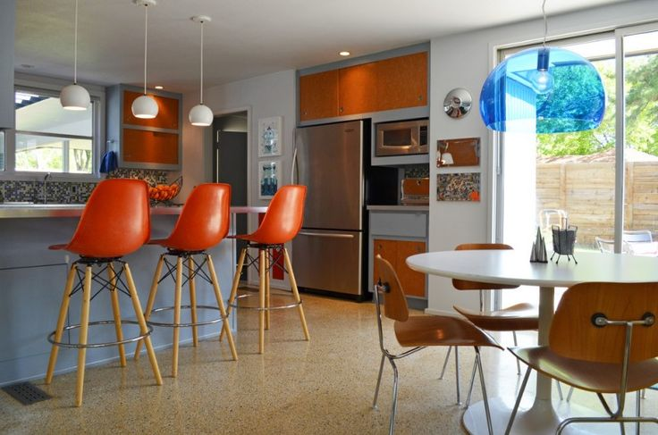 kitchen with sleek orange bar stool with back, wooden four lgs with support and leg rest of Diverse Beautiful Modern Ideas on Mid Century Modern Bar Stools