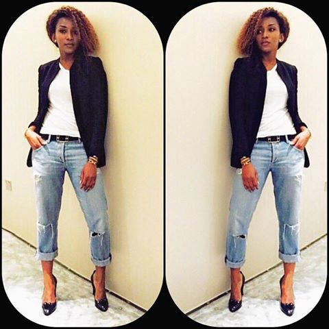 Image result for genevieve nnaji on denim on denim ensemble