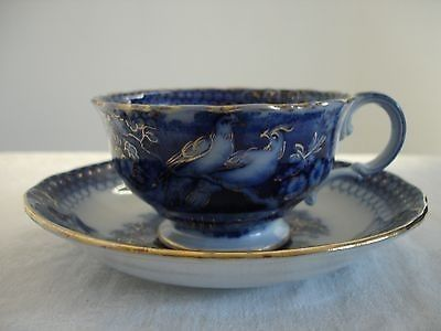 1860's Villeroy & Boch Flow Blue 'INDIA' Cup And Saucer | #499596916