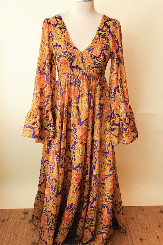 de0fc83d32ae 70s Paisley Maxi Dress