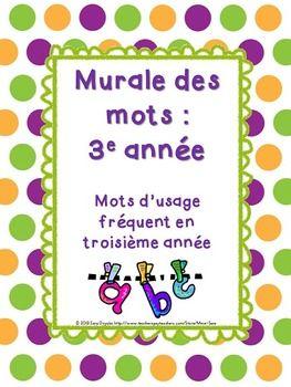 Complete Word Wall for Grade 3 - Murale des mots pour la 3e année - French