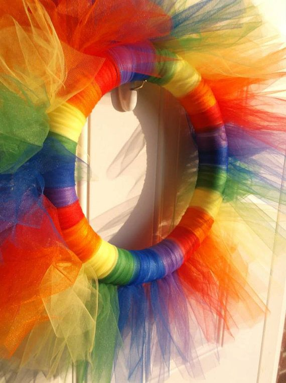 Gay Pride/ Rainbow wreath by TotallyTulleWreathes on Etsy, $30.00