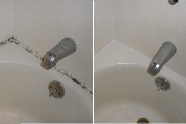 Eliminez la moisissure des contours et jointures de la salle de bain.. sans frotter !