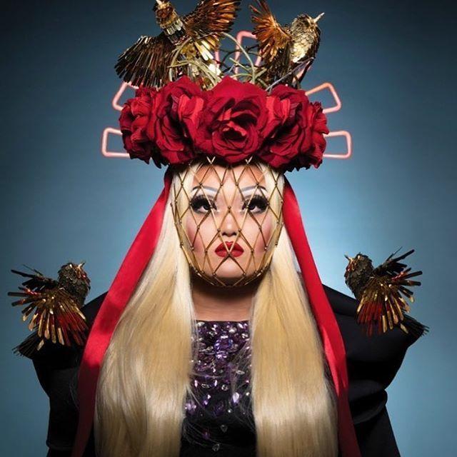 WEBSTA @ kimchi_chic - Nesting on prettyPhoto by @elirezkallah for @plastikmagazine Headpiece by @yana_markova_art @theresidencyexperience Dress by @theladyhyde