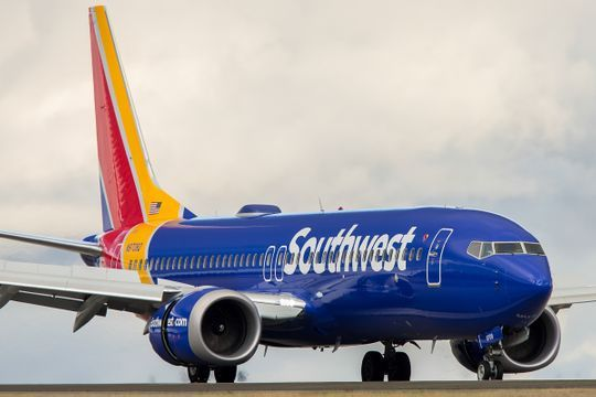 A Southwest Airlines Boeing 737 Max 8 Jet Lands At Seattle Tacoma