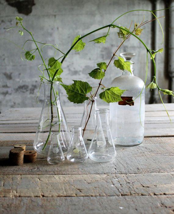 5 Vintage Erlenmeyer Flask Labware Glass Vases / Candle Holders