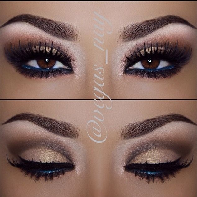 Brown smokey with navy blue liner inside to make eyes pop