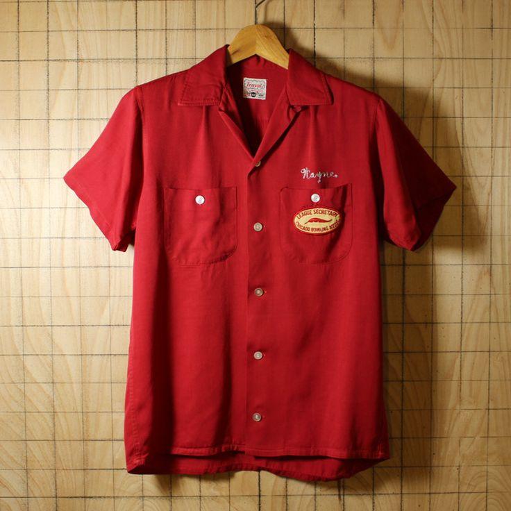 Truval/50sUSA製ビンテージ古着 エンジレッド チェーンステッチ ワッペン レーヨンボーリングシャツ・半袖シャツ/メンズSサイズ/ワッペン