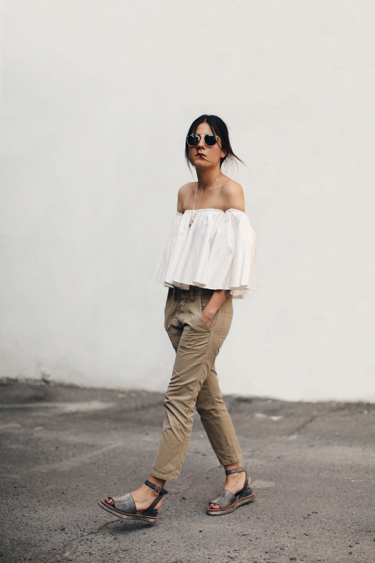 #Chic #Style - white off-the-shoulder frill top & cropped chinos, #summer street style