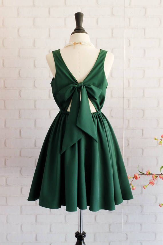 Forest Green dress Green dress backless dress Green party dress Green prom dress Green cocktail dress Dark Green bridesmaid dresses