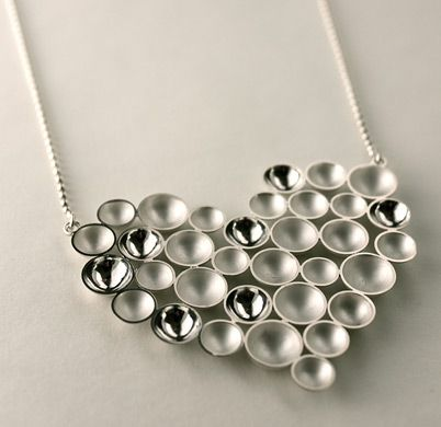 "Annaleena Soini, ""Kupliva"" (bubbly) heart necklace, in silver.   AnnaleenaSoini.fi #Finland #valentine #heart"