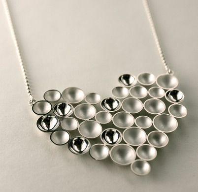 "Annaleena Soini, ""Kupliva"" (bubbly) heart necklace, in silver. | AnnaleenaSoini.fi #Finland #valentine #heart"