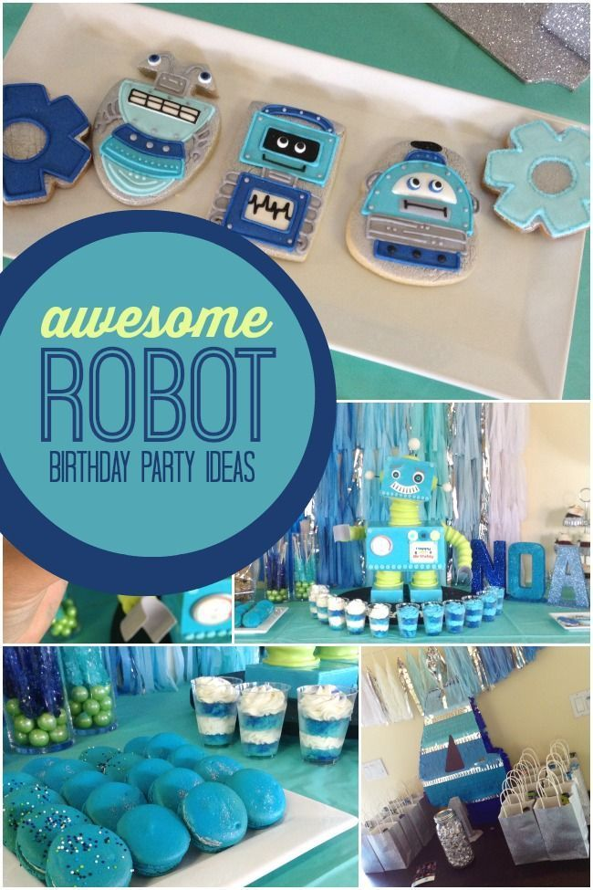 How do you get those party planning gears turning? Jumpstart them with fun ideas and the 3-D cake shared in this Boy's Robot Themed Birthday Party!