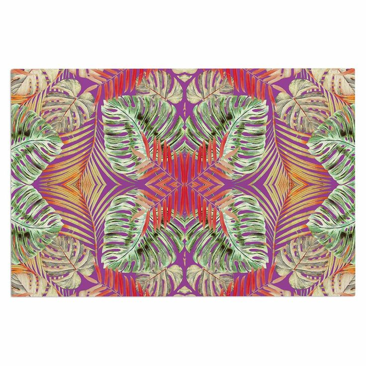 "Alison Coxson ""Summer Jungle Love Purple "" Green Red Decorative Door Mat"