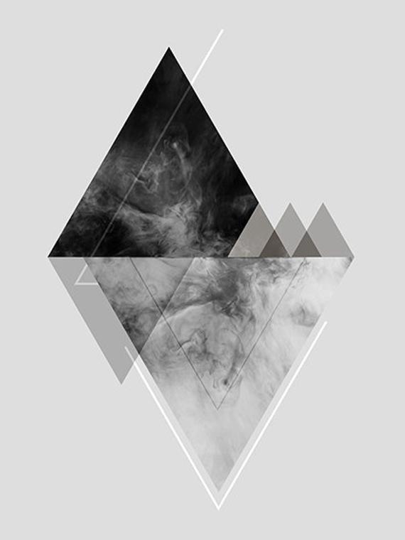 Geometric Abstract Black And White Printable Wall Art Print