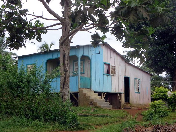 This house a bit beyond the airport is typical of rural dwellings on Principe Island, São Tomé and Príncipe.