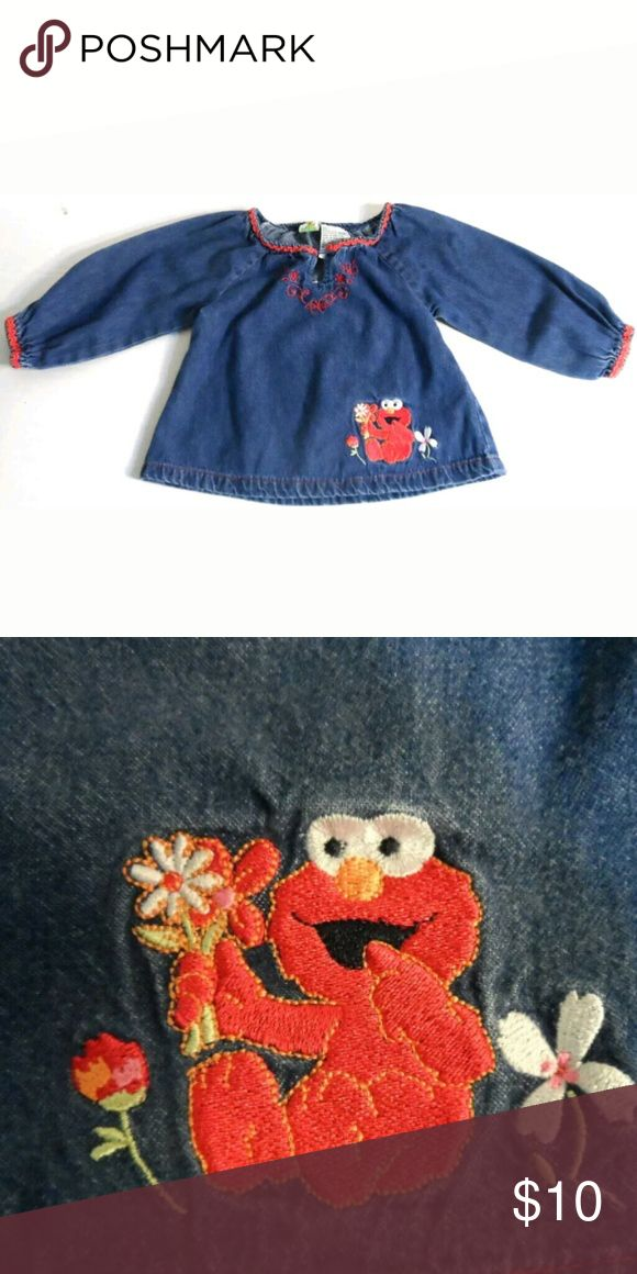 "Baby Girls Sesame Street Elmo Denim Shirt 12 mo's. Denim shirt features Elmo, size 12 mo's. Rick rack trim around neckline & sleeves;  1 button @ neck w/a thread that slips around it- no buttonhole. Embellished w/embroidery; Floral Design. Approx.13.5"" long x  11.5""  wide @ chest from armpit to armpit.  Sleeves approx. 8.5"" long from directly under the armpit. Item is GUC; no stains, rips or odors. ** Coming to you from a smoke-free home. ?? I have 100% positive feedback on my other selling…"