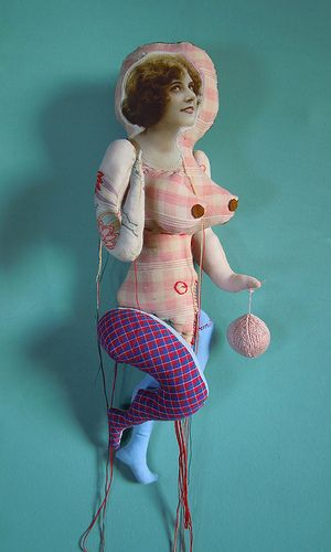 Another of artist Cecile Perra's embroidered puppets