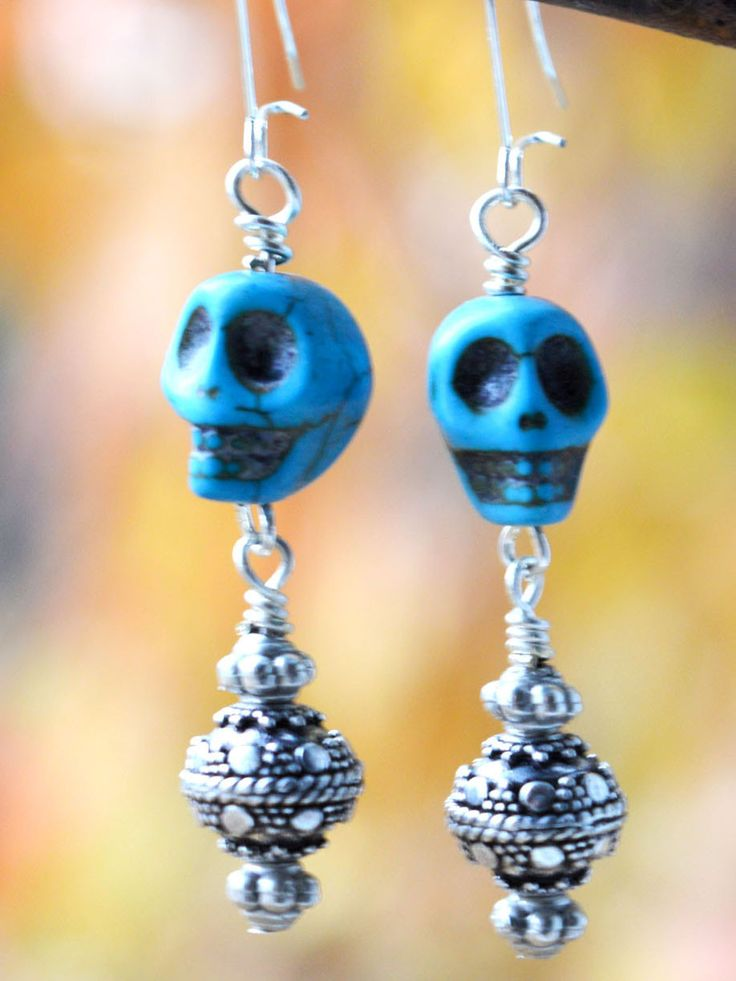 Silver and Blue Skull Earrings  **THE SWEETEST SUGAR SKULLS** #goth #boho #turquoise #witchy #punkrock