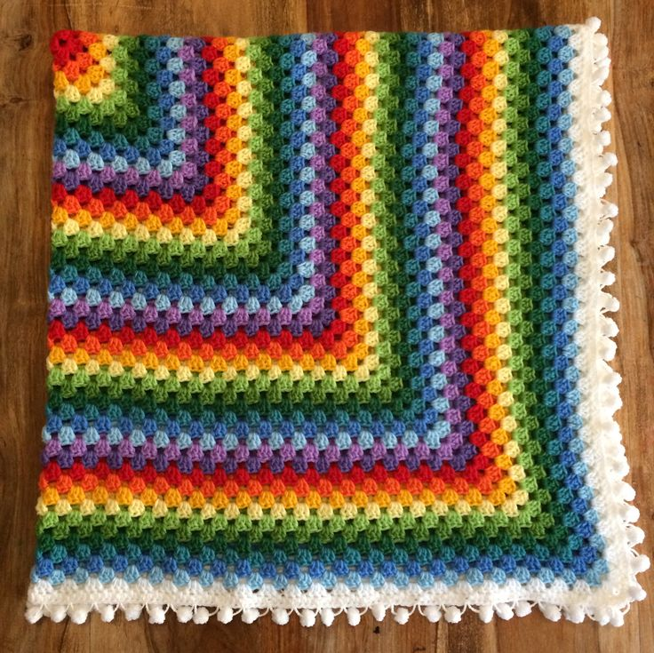 Rainbow Granny with Pompoms