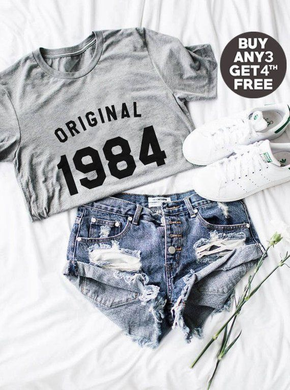 34th Birthday Gifts 1984 Shirt Cool Graphic Tees Ladies Tshirt Funny Qu