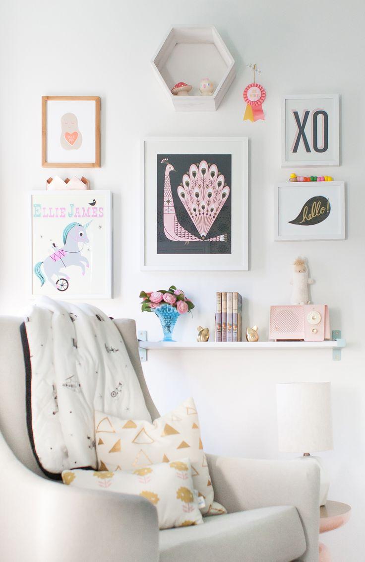 Gallery Wall In A Nursing Nook  Via Lay Baby Lay Nursery