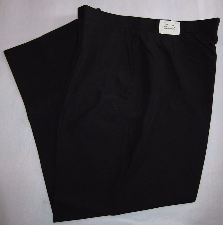 Sz 24 Womens New Pleated Black Work Uniform Pants Waitress Banquet Hospitality #Cintas #DressPants