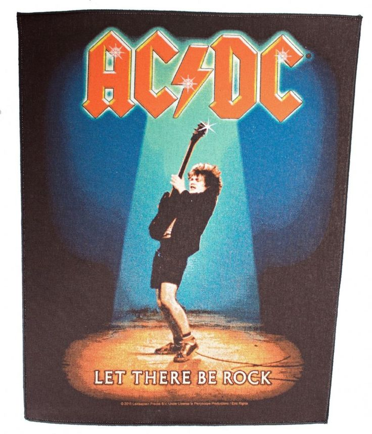 Official AC DC giant Sew-on Back Patch measuring approx 36cm x 29cm featuring the Let There Be Rock album design Anthill Trading Officially Licensed
