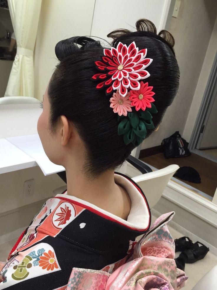 お客様からのお写真☆ KYOTO 加織屋のブログ 京都のつまみ細工 髪飾り かんざし 成人式 卒業式 七五三