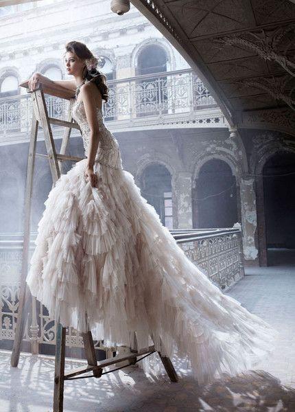 Lazaro Beaded & Embroidered Wedding Dress Satin Ivory Shredded Tulle