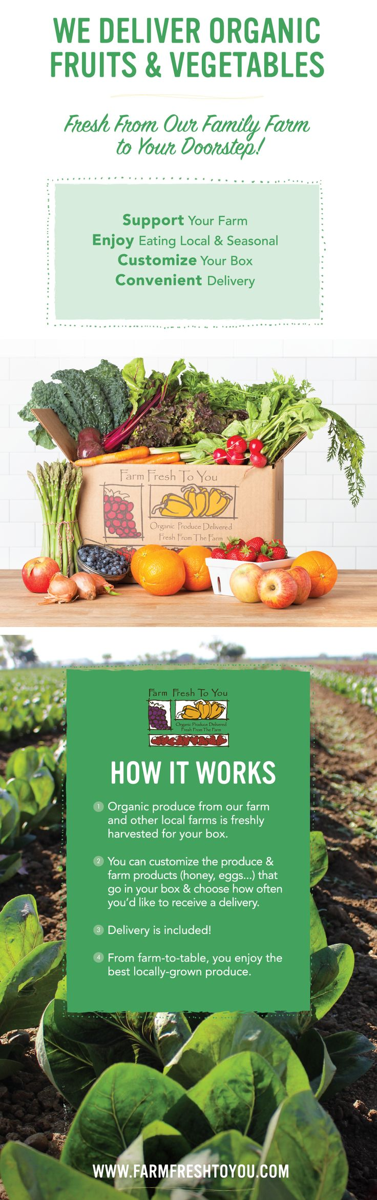 Farm Fresh To You sends you fresh, organic, sustainable produce to help you cook incredible farm to table meals at home.