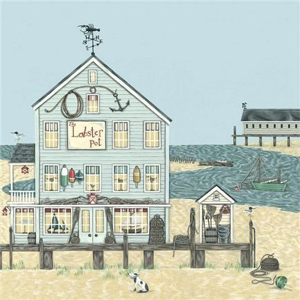 Lobster Pot Greetings Card - Sally Swannell