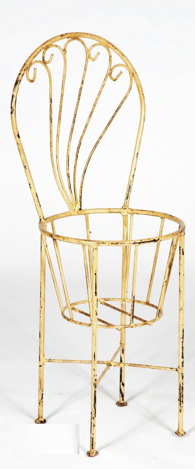 Wrought Iron Chair That Holds Flower Pot Holder - Plant Stand
