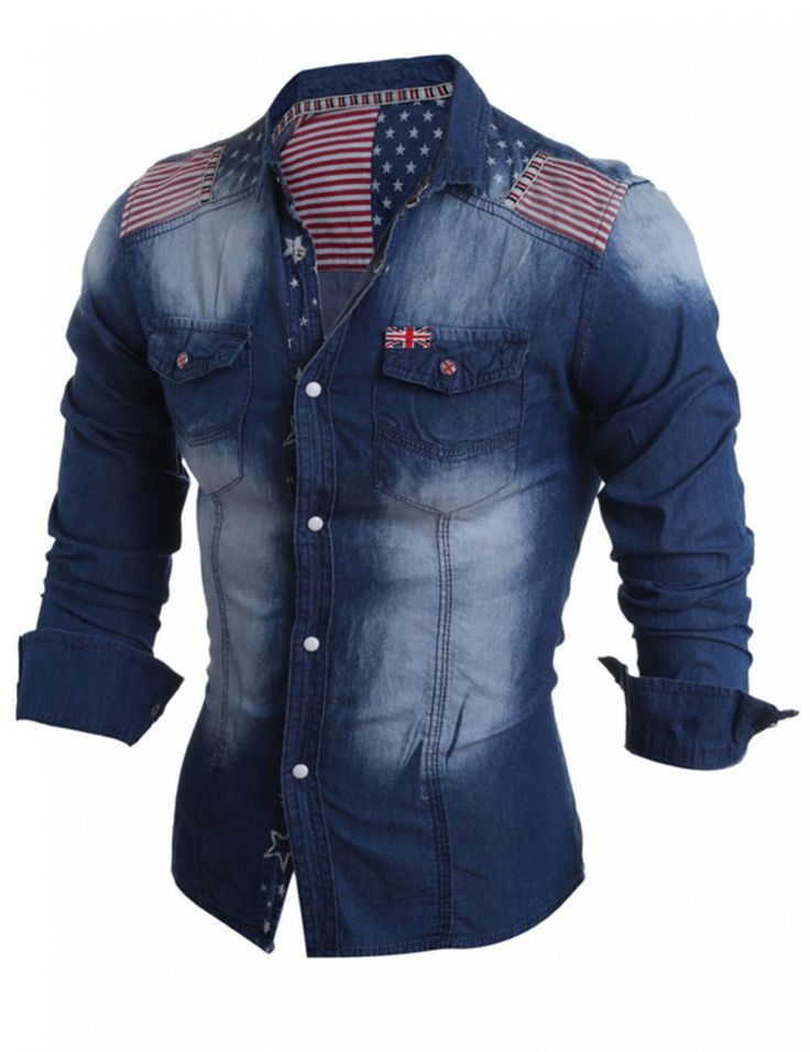 Yesfashion Men's The Union Flag Pattern Long Sleeve Jean Shirt Deep Blue M - Shirts - Men