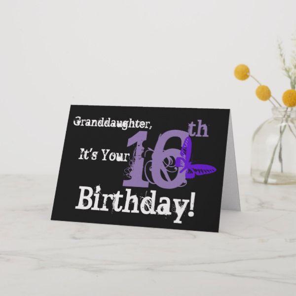 Granddaughters 16th Birthday Purple Butterfly Card Sweetsixteen Birthdaycards 16thbirthday 16yearold Forgirl