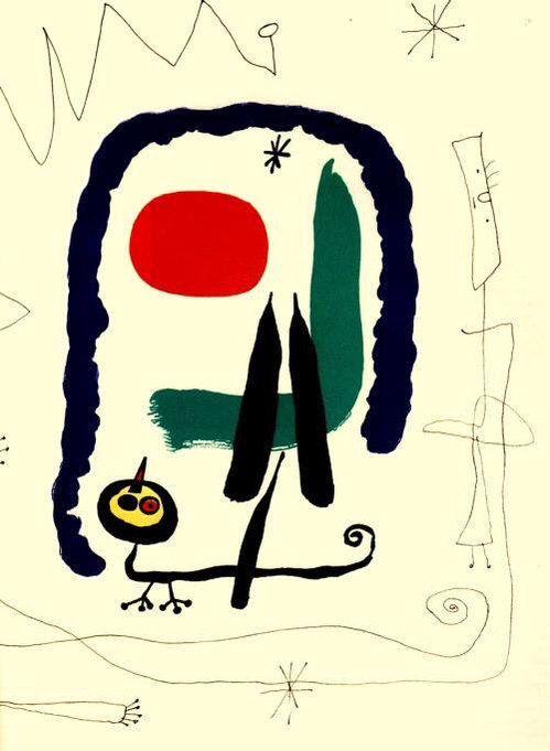 """Joan Miro - Surrealism & Abstraction - """"La complainte du lézard amoureux"""" 1969 Lithography for René Char's """"Le chien de coeur"""""""