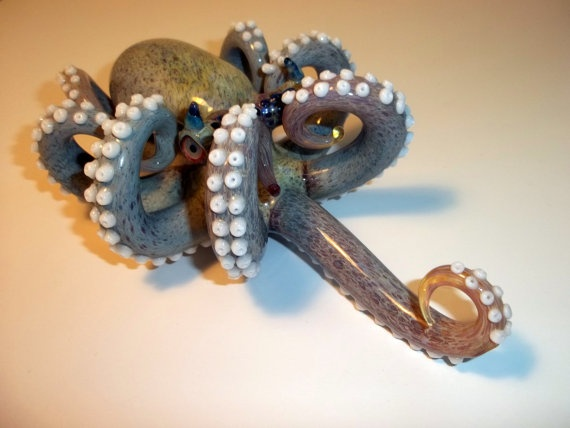 Glass Pipe HEADY OCTOPUS PIPE Double Amber Purple by LoudActions, $1000.00