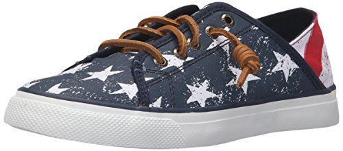 Sperry Top-Sider Women's Seacoast Isle Stars and Stripes Fashion Sneaker, Red/White/Blue, 8 M US