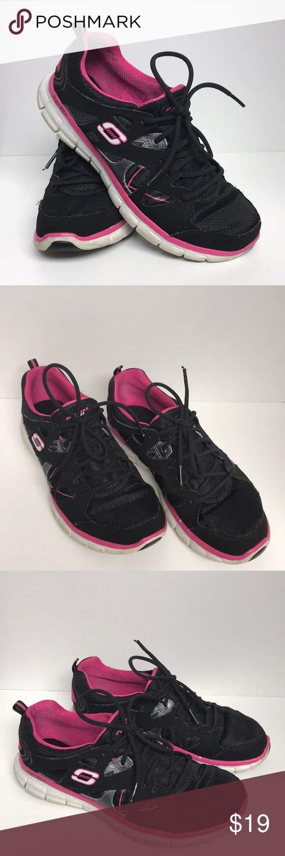 Sketchers sneakers black & pink size 8.5 Sketchers sneakers with memory foam soles. Black body with pink soles. Used but have lots of life left. size 8.5 Skechers Shoes Sneakers