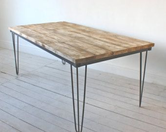 Table from reclaimed scaffolding boards and hairpin legs