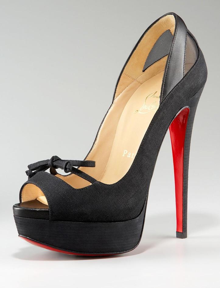 christian louboutin mens spiked shoes - Christian Louboutin Bow Tie Mesh Maleva Peep-Toe Mary Jane Pump ...