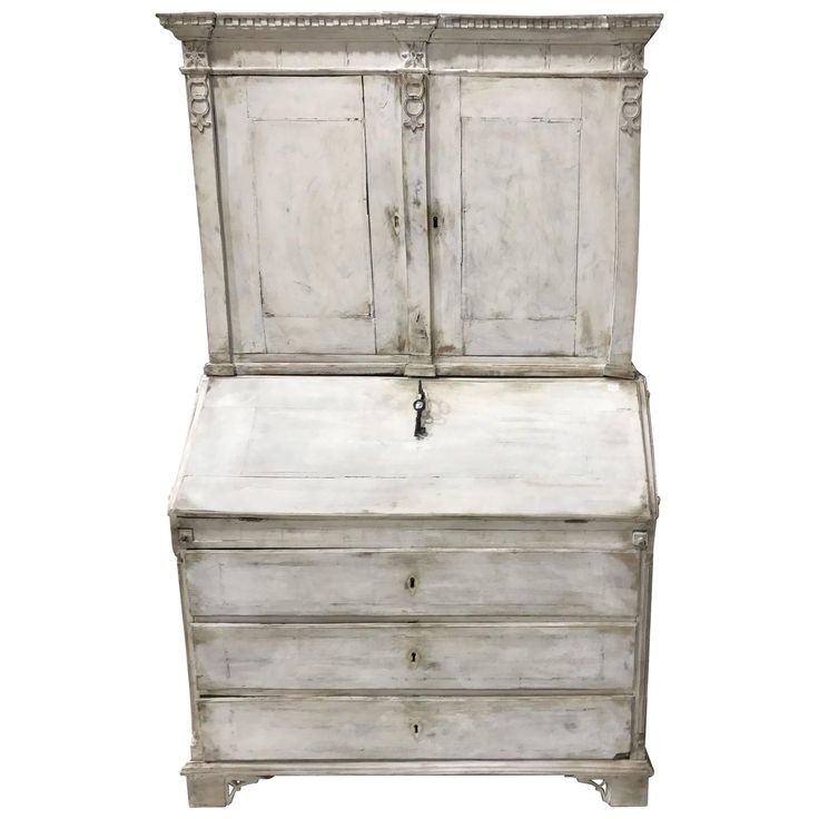 18th Century Diminutive Swedish Painted Secretary Desk