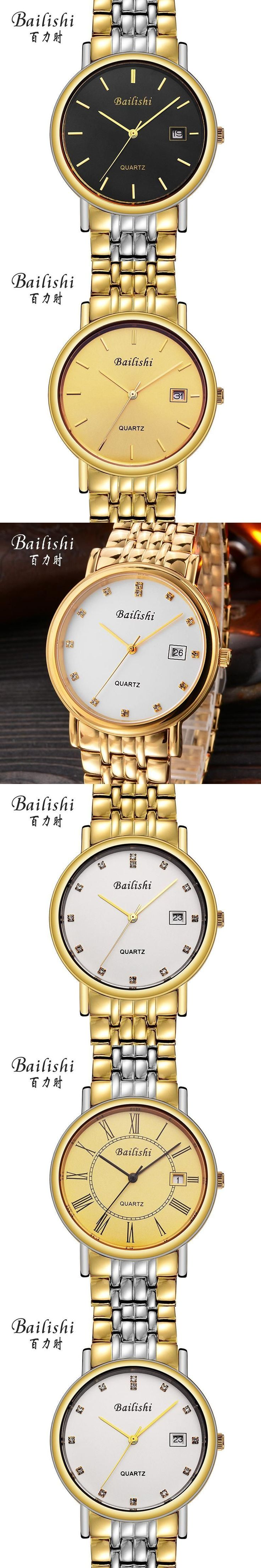 Bailishi Full Gold Watch Mens Watches Top Brand Luxury Waterproof Quartz-watch Steel Wrist watches for Men relojes hombre 2017 #wristwatches